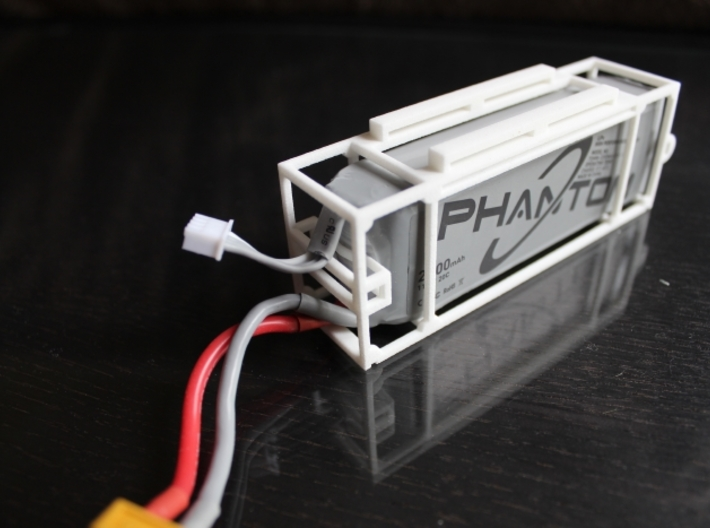DJI Phantom - 3s Lipo Battery Cage - d3wey 3d printed XT60 goes under bracket, Balance plug over it