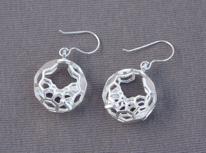 Bees and Honeycomb Earrings - Circular 3d printed