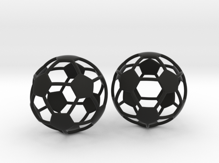 Soccer Ball Earrings - Hollow 3d printed