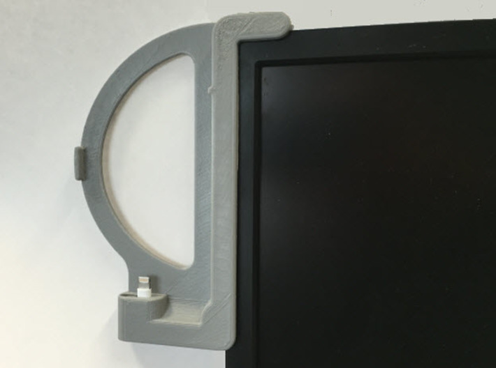 iPhone 6, No Case, Standard Lightning - Dock 3d printed Dock Mounted on Monitor