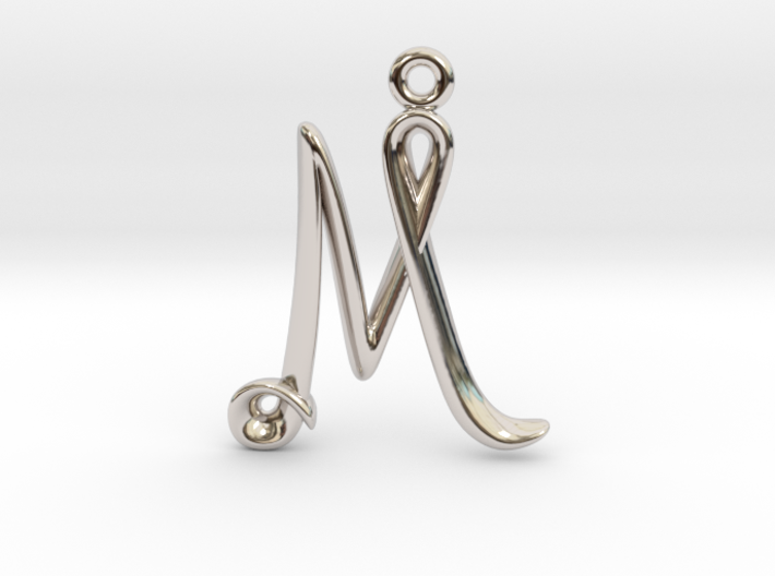 M Initial Charm 3d printed