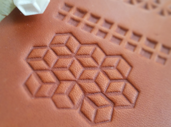 Set of 10 leatherstamps with tool/holder 3d printed Cube pattern with 3d illusion stamp