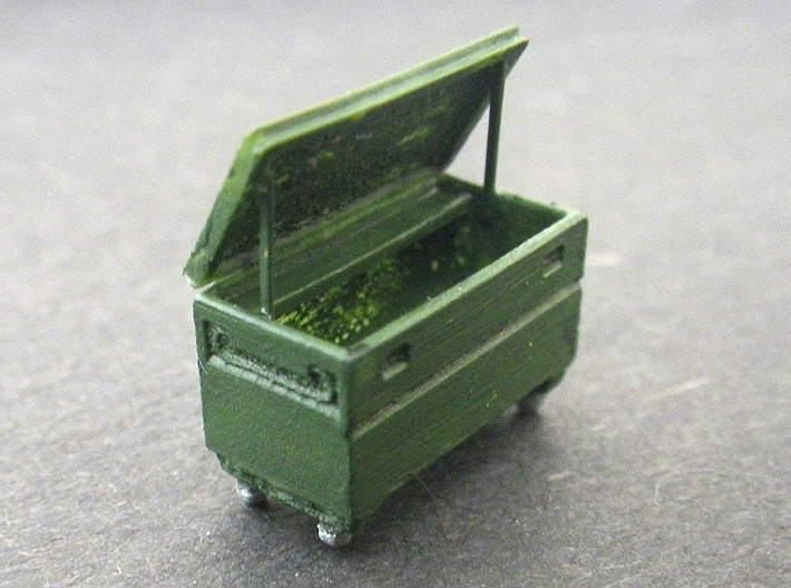 Contractors Tool Bin 1/87 (HO Scale) 3d printed Rolling Tool Storage Bin - Painted/Assembled
