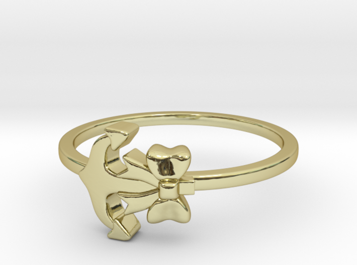 Anchor Bow Ring 3d printed