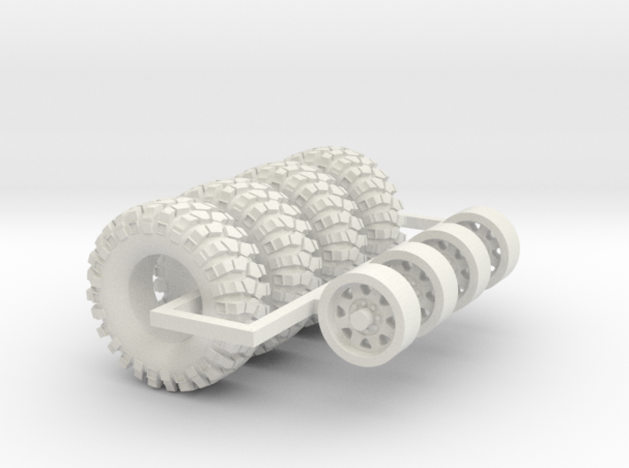 1/64 Crawler Tires with wheels 3d printed