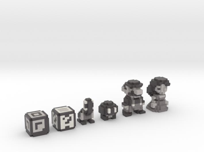Super Mario Land (Set) 3d printed Full Color Sandstone render.