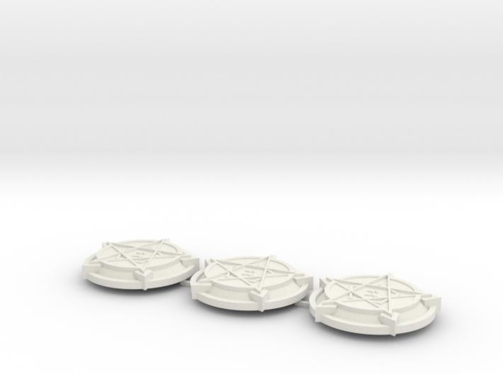 28mm/32mm Demon Summoning Circles (set of three) 3d printed