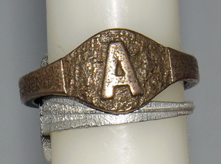Textural Initial A Ring Size 11 3d printed My initial A textured ring on a tapered candle.