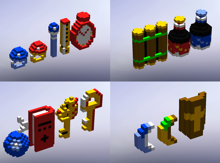 Legend of Zelda Items (Set 2) 3d printed Solidworks render with a better look at all the items in the set.