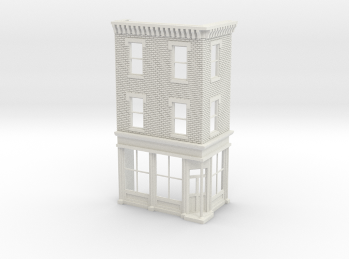 O scale Philadelphia Corner Store Front 3 stories 3d printed