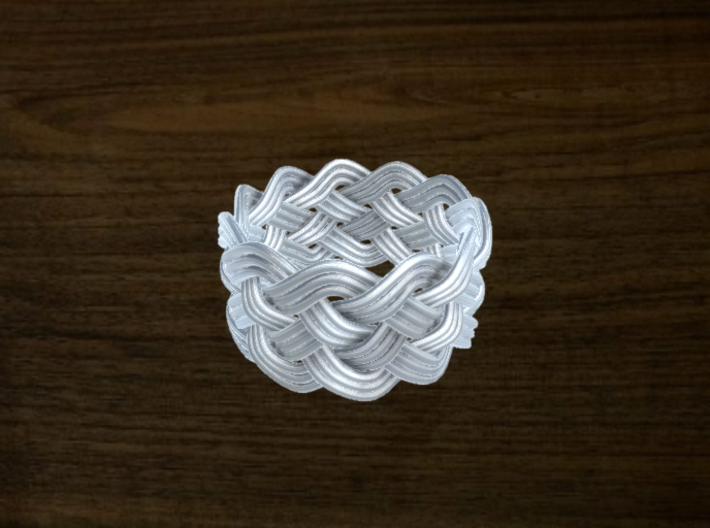 Turk's Head Knot Ring 5 Part X 11 Bight - Size 10 3d printed Gold Plated Brass