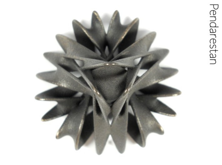 Trochobell (2 in) 3d printed Organic minimal surface sculpture in polished grey steel