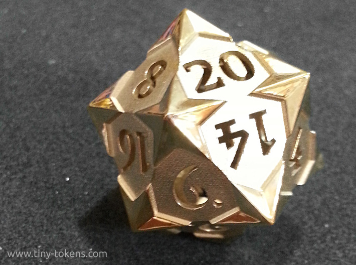 'Starry' D20 Balanced Gaming Die 3d printed Customer picture of this d20 printed in polished brass