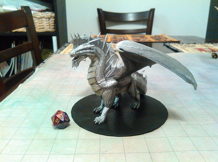 Silver Dragon 3d printed