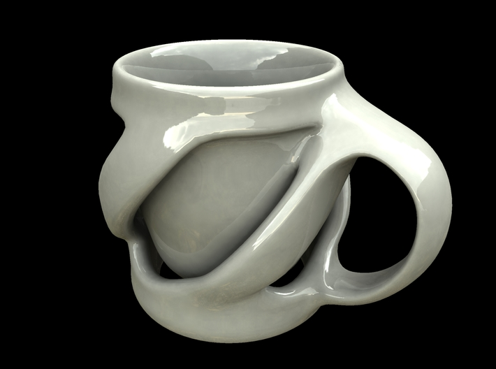 Twist of Fate Mug 3d printed ceramic render of uprighted mug.