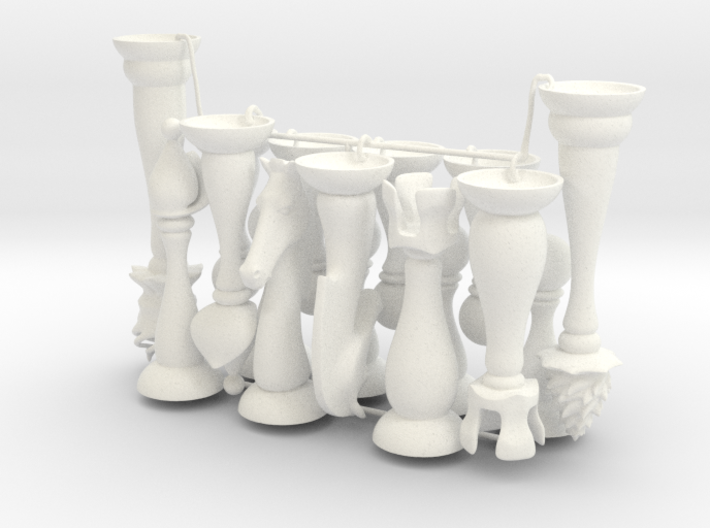 Slender Chess Pieces, 1/2 set 3d printed
