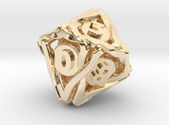 'Twined' Dice D10 Gaming Die (18 mm) 3d printed