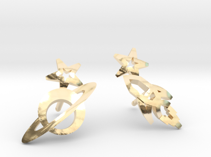 Earrings 'retro-Space' - Rocket/Planet 3d printed