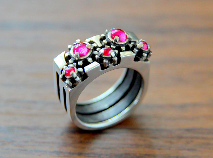 """""""Gear of Ruby"""" Silver Ring -Not for sale- 3d printed"""