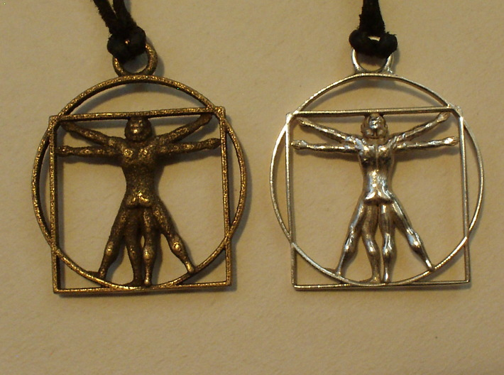 vitruvian man 5cm 3d printed BACK: Left Stainless Steel, Right Silver