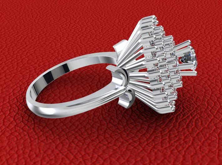 JT2- Castle Engagment Ring With Halo Separated Par 3d printed