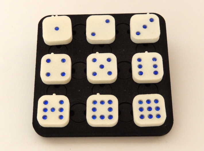 Dancing Dice & Dominoes Puzzle 3d printed The puzzle in solved state