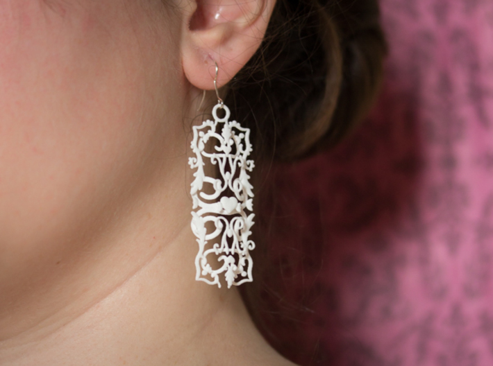 Baroque Heart Earrings 3d printed