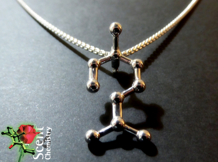 Linalool 3d printed Detail view of the linalool pendant dangling on a 2 mm/45 cm Thomas Sabo  Sterling silver Glam and Soul KE1107-001-12-L45 basic  necklace.