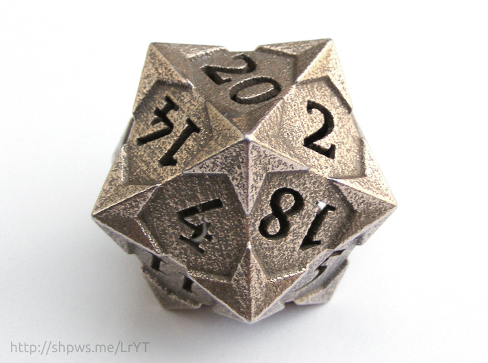 'Starry' D20 Balanced Gaming Die 3d printed