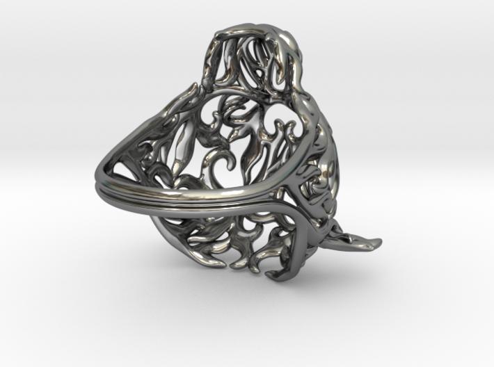 Zodiac Tiger Ring - Silver Tiger Ring, Size 6.5 3d printed