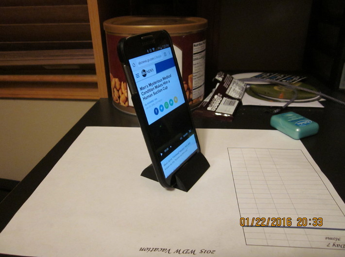 Cell Phone Stand for face time, skype, movies, Bed 3d printed