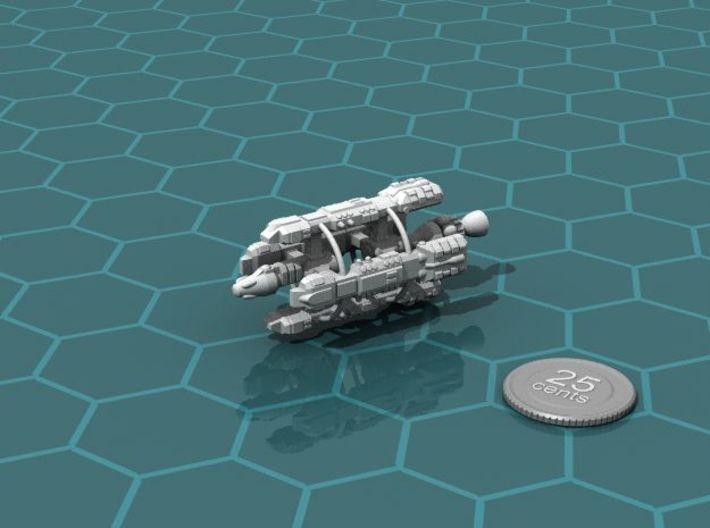 Colonial Transport 3d printed Render of the model, with a virtual quarter for scale.