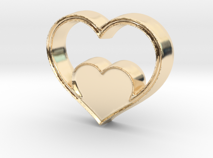 Two Hearts in One Pendant - Amour Collection 3d printed