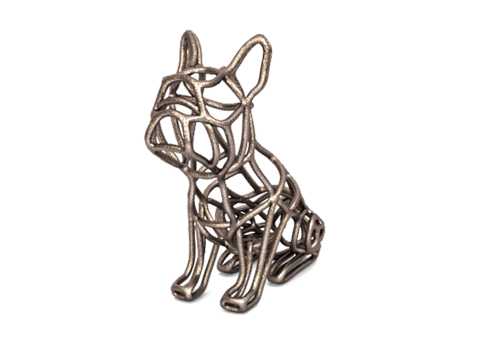 French Bulldog Wireframe Keychain (sitting) 3d printed