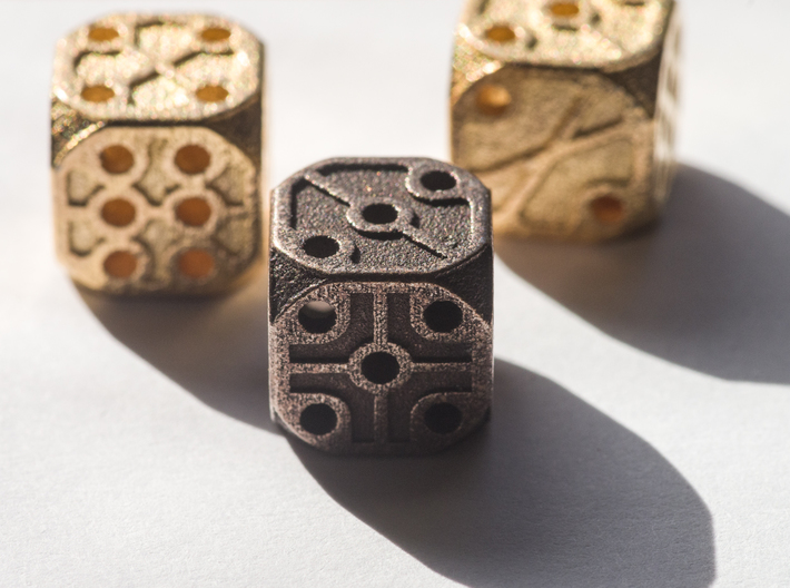 Rustic  Die - Small 3d printed Three dice, two Polished Gold Steel and one Polished Bronze Steel.