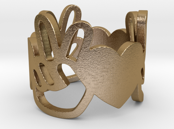 Peace and Love Ring Size 7 3d printed