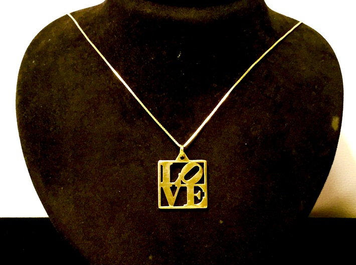 LOVE Pendant ROBERT INDIANA (Thinner Version) 3d printed Polished Brass Pendant with Gold Plated Silver Chain