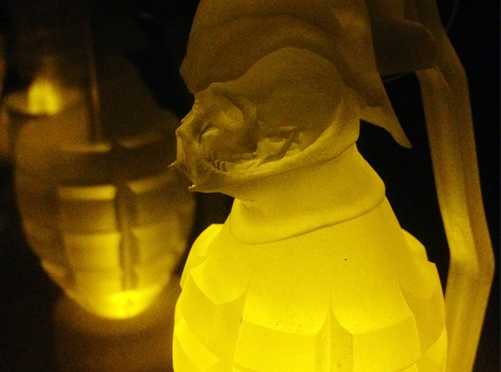 Vader Grenade in Frost Ultra 3d printed Have place an electric candle light under the Frosted Ultra Detail Vader Grenade to make it glow in the dark!