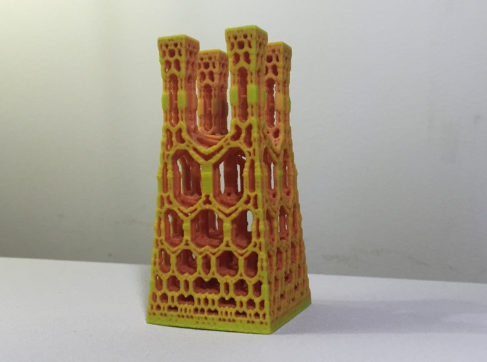 Miniature fractal building 3d printed Full Color Sandstone