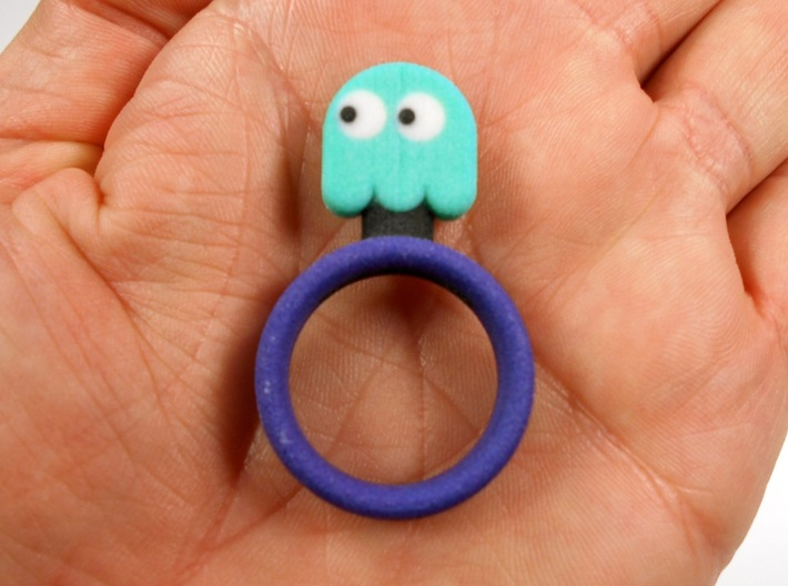 "Pac-Man ""Inky"" Ghost Ring 3d printed"