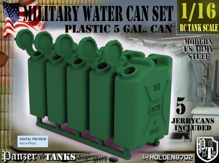 1-16 Military Water Can 5 Units 3d printed