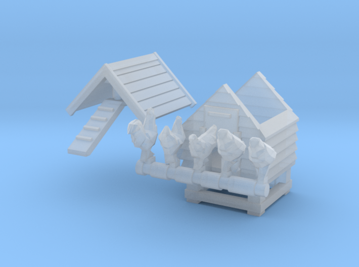 Chicken coop with rooster and hens (N 1:160) 3d printed