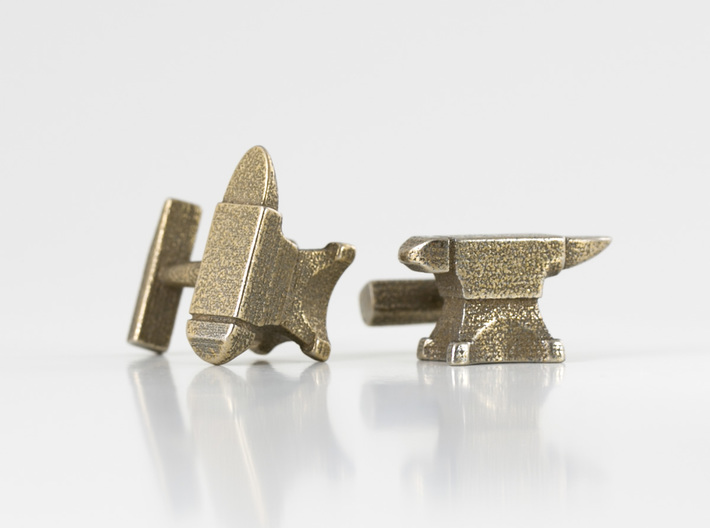 Anvil Cufflinks 3d printed Anvil Cufflinks - Stainless Steel