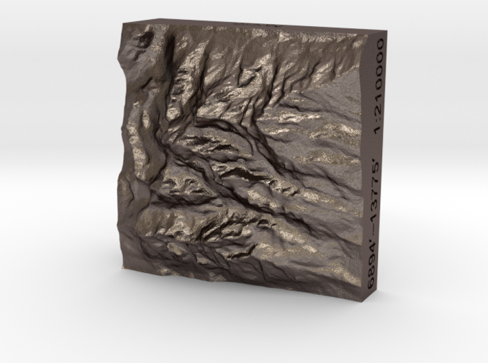 1''/3cm Grand Tetons, Wyoming, Steel 3d printed