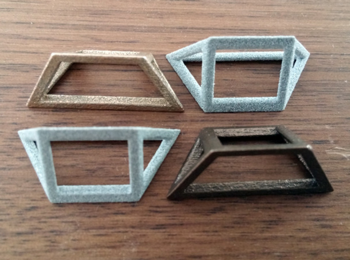 Material Sample - 'Impossible' Pyramid Puzzle Piec 3d printed Stainless Steel, Metallic Plastic, Polished Metallic Plastic, Bronze Steel