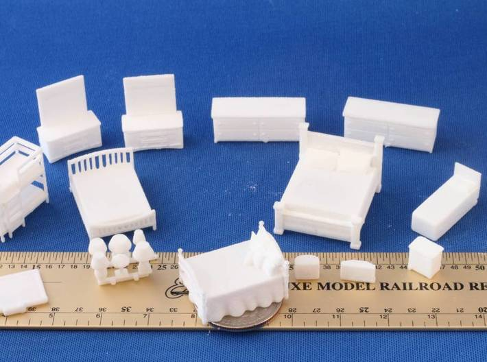 Bedroom Furniture HO Scale (1/87th life size) 3d printed