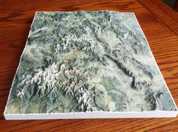 Colorado Fourteeners with holes, 12'' 3d printed Photo of entire model---have you climbed all 58?