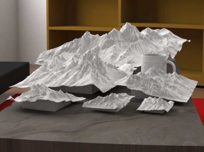 "12'' Grand Tetons Terrain Model, Wyoming, USA 3d printed Rendering of all available sizes: 3"", 4"", 6"", 8"", 12"", 20"""