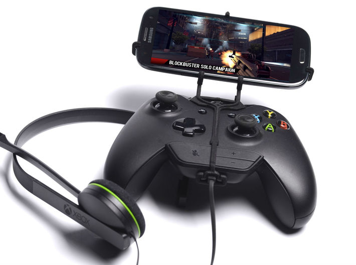 Xbox One controller & chat & Gionee Elife E8 - Fro 3d printed Front View - A Samsung Galaxy S3 and a black Xbox One controller & chat
