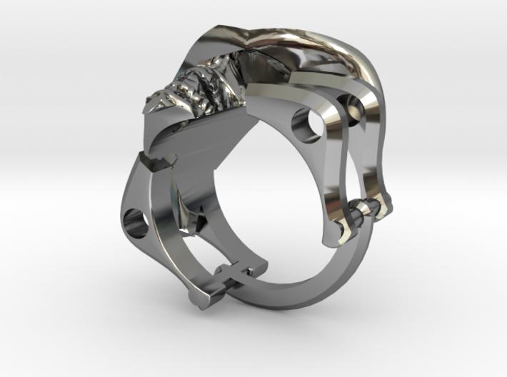 Silver Cowboy Skull Ring 3d printed